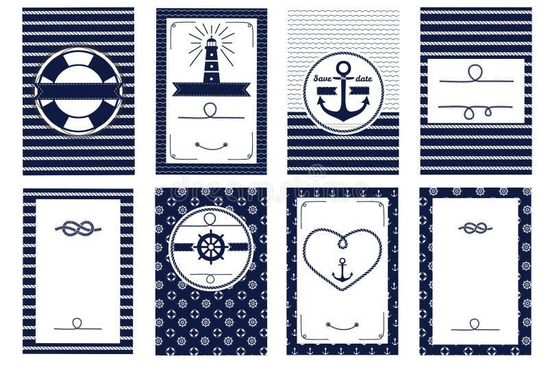Modelli nautici della carta dell'invito di nozze royalty illustrazione gratis