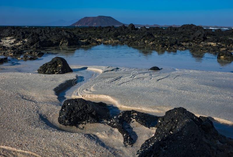 Modelli nella sabbia alla scarsa visibilit? nel parco naturale in Corralejo Fuerteventura Spagna fotografie stock libere da diritti