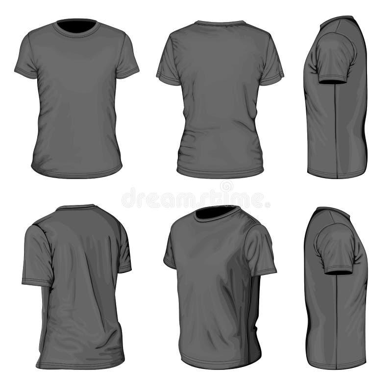 Modelli neri di progettazione della maglietta della manica degli uomini brevi royalty illustrazione gratis