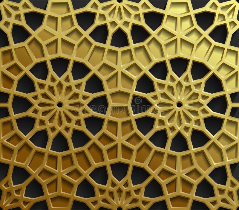 Modelli orientali islamici, raccolta geometrica araba senza cuciture dell'ornamento Fondo musulmano tradizionale di vettore orien illustrazione vettoriale