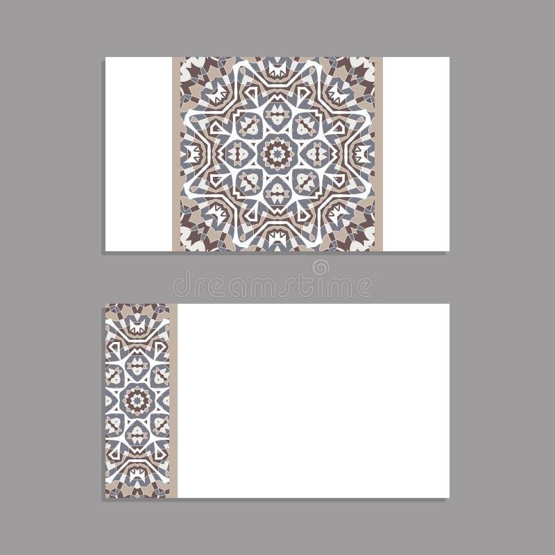 Modelli per accogliere e biglietti da visita, opuscoli, coperture con i motivi floreali Modello orientale mandala illustrazione vettoriale
