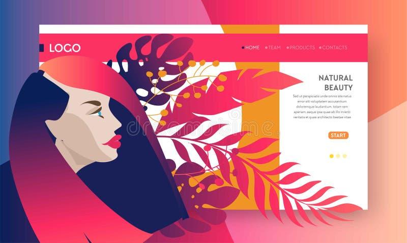 Modelli per bellezza, stazione termale, benessere di progettazione della pagina Web illustrazione vettoriale