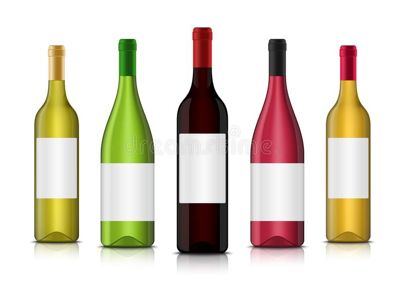Modelli realistici della bottiglia di vino 3d di vettore con le etichette pulite illustrazione di stock