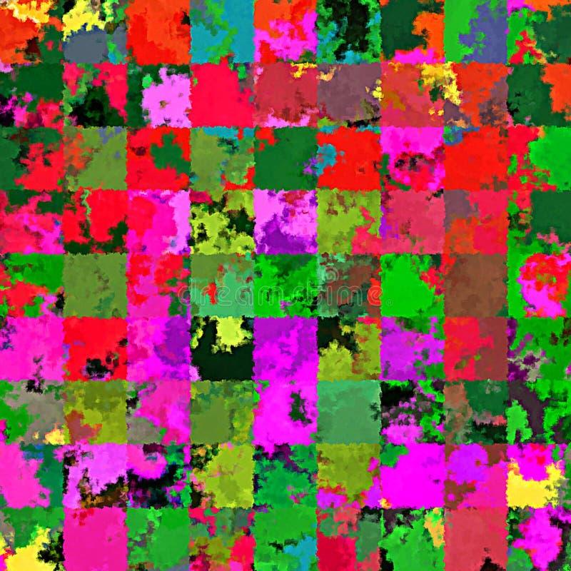 Modelli rettangolari caotici della pittura della spazzola dello spruzzo dell'estratto della pittura di Digital nel fondo variopin fotografie stock
