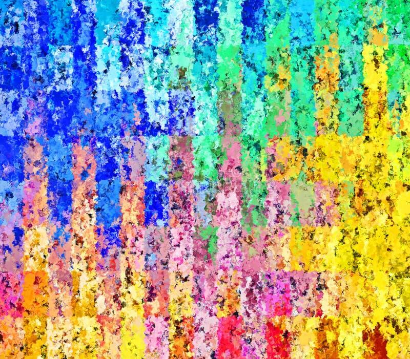 Modelli rettangolari caotici della pittura della spazzola dello spruzzo dell'estratto della pittura di Digital nel fondo variopin immagine stock
