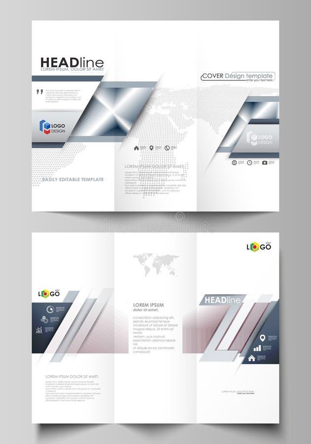 Modelli ripiegabili di affari dell'opuscolo da entrambi i lati Disposizione editabile facile di vettore illustrazione vettoriale