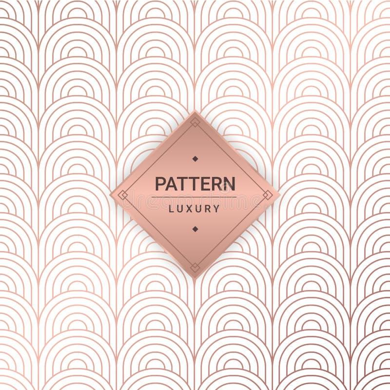 Modelli rosa senza cuciture dell'oro Illustrazione di vettore per la parete di lusso royalty illustrazione gratis