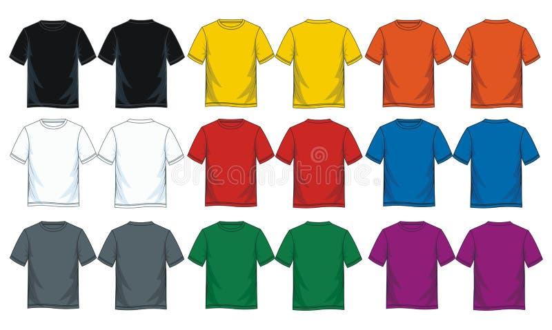 Modelli rotondi della maglietta del collo della scarsità degli uomini, parte anteriore e viste posteriori royalty illustrazione gratis