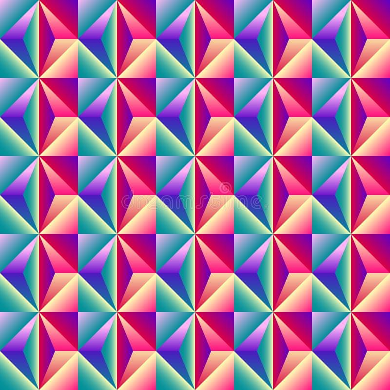 Modelli senza cuciture al neon dell'estratto geometrico variopinto luminoso illustrazione vettoriale