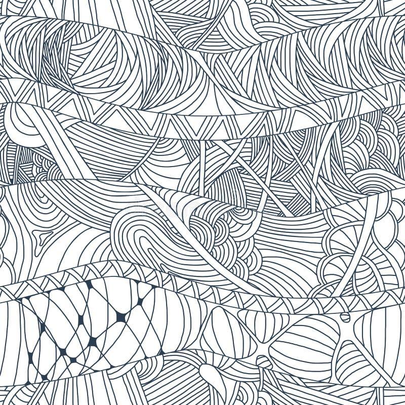 Modelli senza cuciture astratti con le onde e le linee disegnate a mano di scarabocchio illustrazione vettoriale