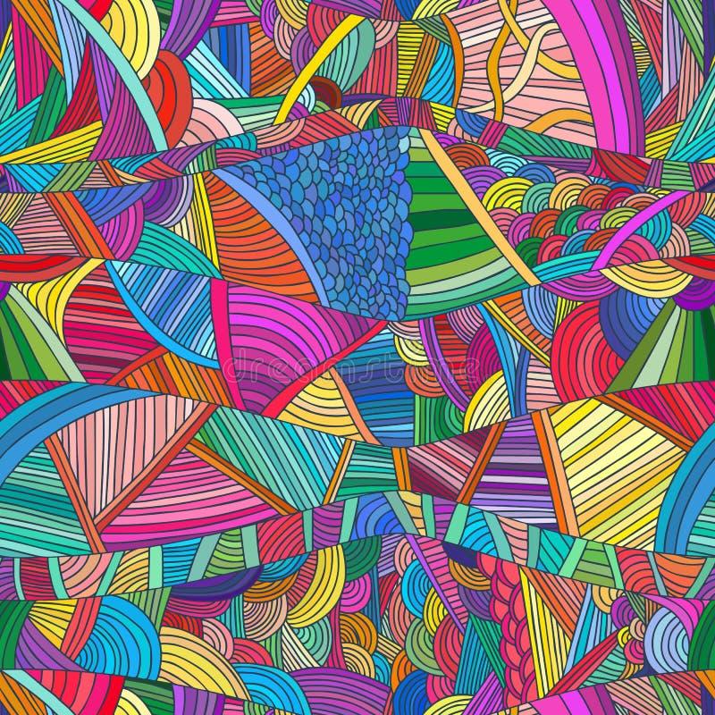 Modelli senza cuciture con le onde e le linee disegnate a mano di scarabocchio illustrazione vettoriale