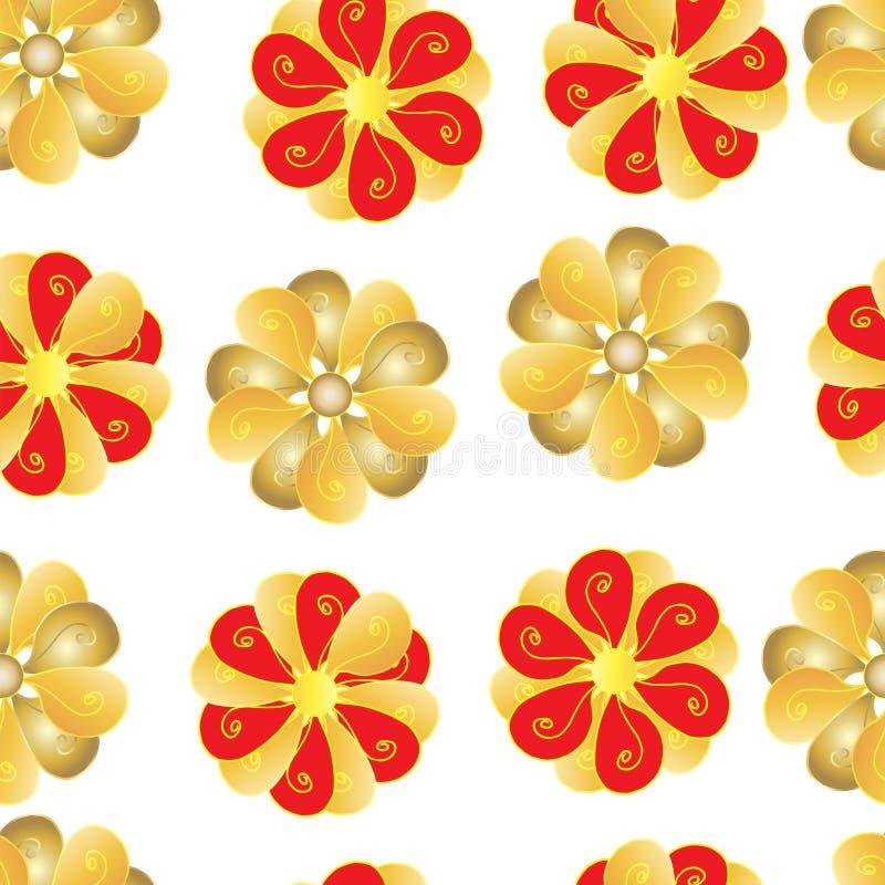 Modelli senza cuciture dei fiori rossi e gialli su fondo bianco illustrazione vettoriale