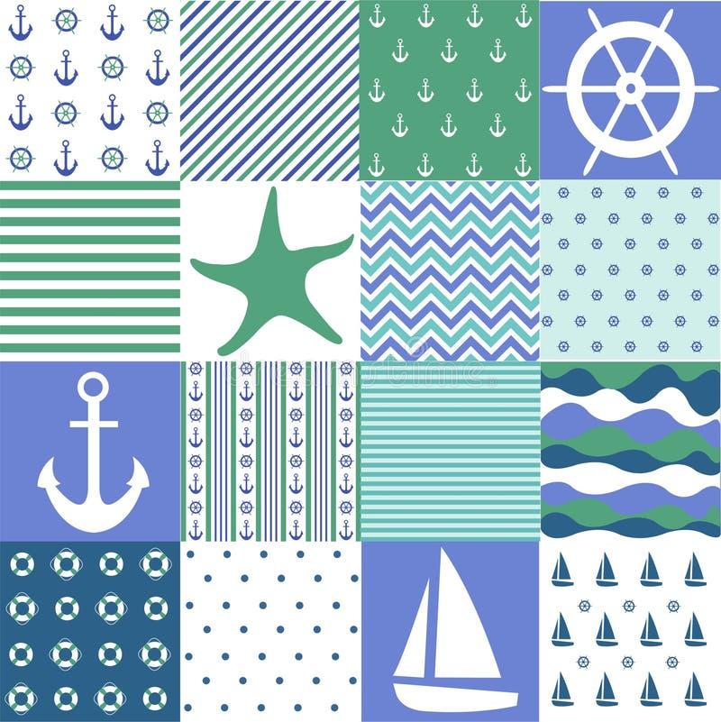 Modelli senza cuciture del mare, progettazione nautica, elementi marini illustrazione di stock