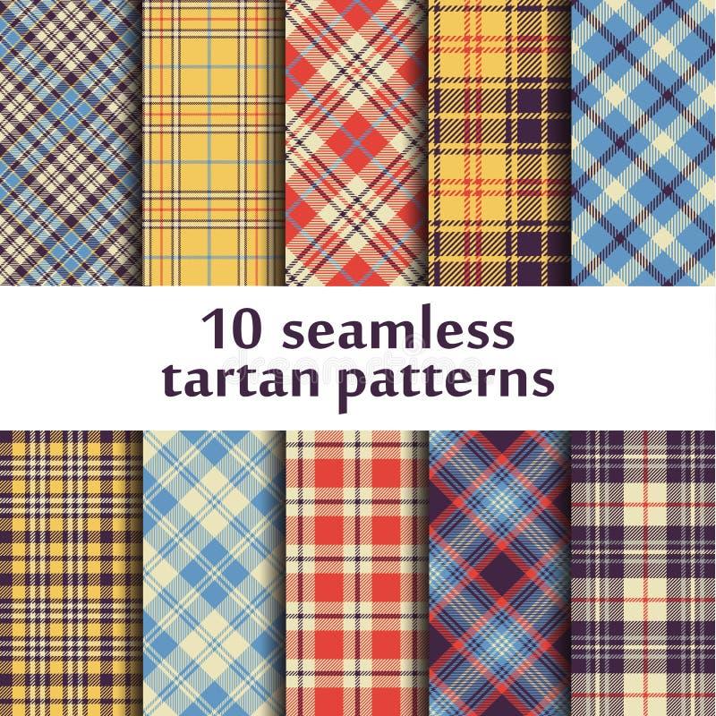 10 modelli senza cuciture del tartan illustrazione di stock