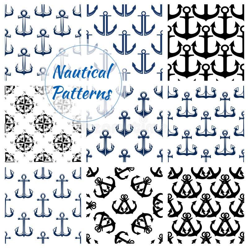 Modelli senza cuciture della marina nautica determinati illustrazione vettoriale