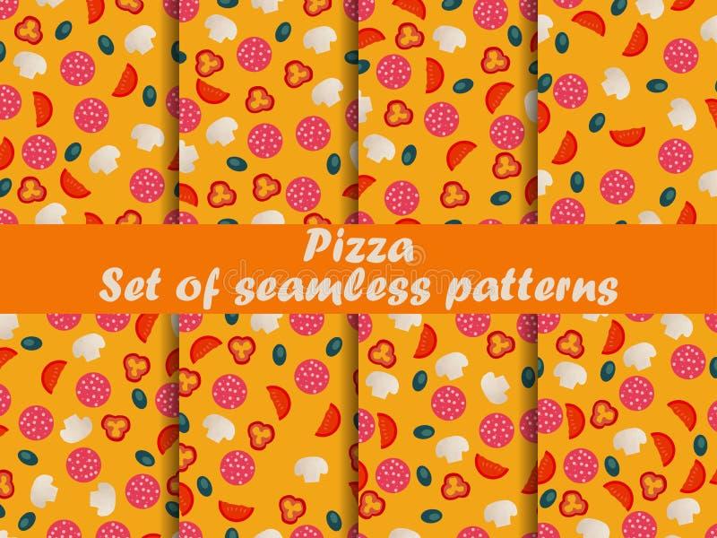 Modelli senza cuciture della pizza determinati Ingredienti per pizza Pizza italiana royalty illustrazione gratis
