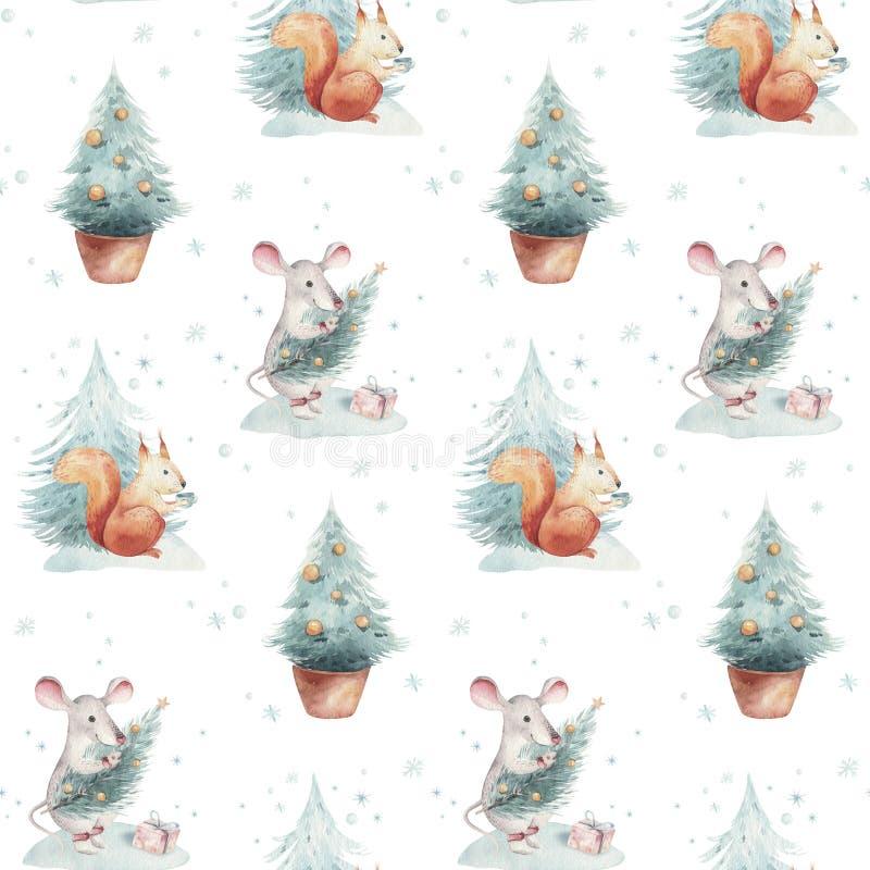 Modelli senza cuciture di Buon Natale dell'acquerello con l'albero di Natale e ratto e scoiattolo, animali svegli del topo del ba fotografia stock libera da diritti