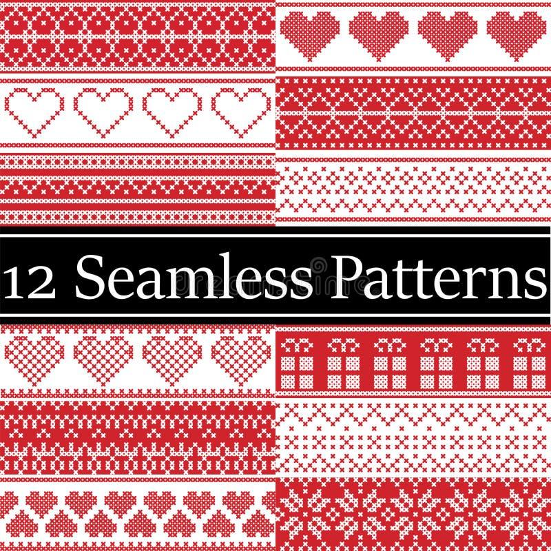 12 modelli senza cuciture di Natale di vettore nordico di stile hanno ispirato dal Natale scandinavo, l'inverno festivo in punto  royalty illustrazione gratis