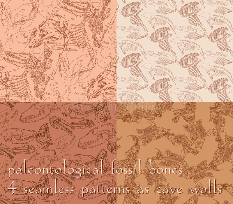 Modelli senza cuciture di paleontologia con le ossa illustrazione vettoriale