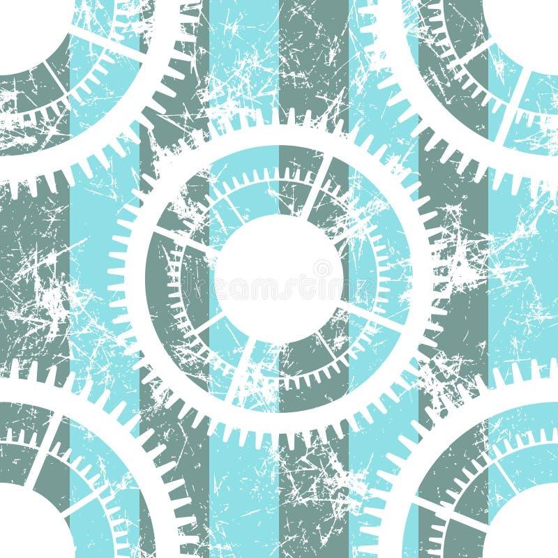 Modelli senza cuciture di vettore con il meccanismo dell'orologio Ambiti di provenienza blu e bianchi geometrici creativi di lerc royalty illustrazione gratis