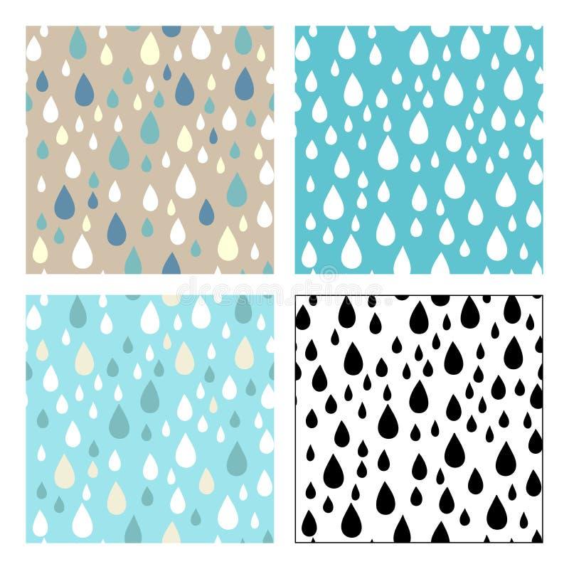 Modelli senza cuciture di vettore delle gocce di pioggia royalty illustrazione gratis