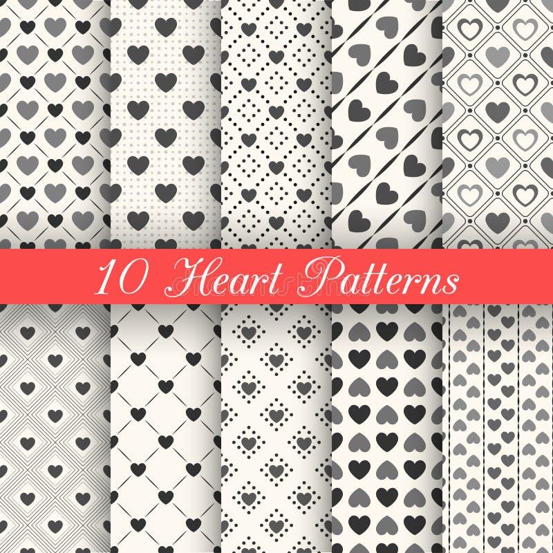 10 modelli senza cuciture di vettore di forma del cuore Il nero e illustrazione di stock