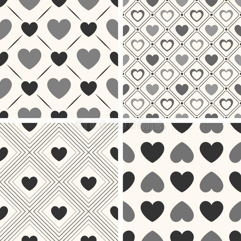 Modelli senza cuciture di vettore di forma del cuore Il nero e illustrazione di stock