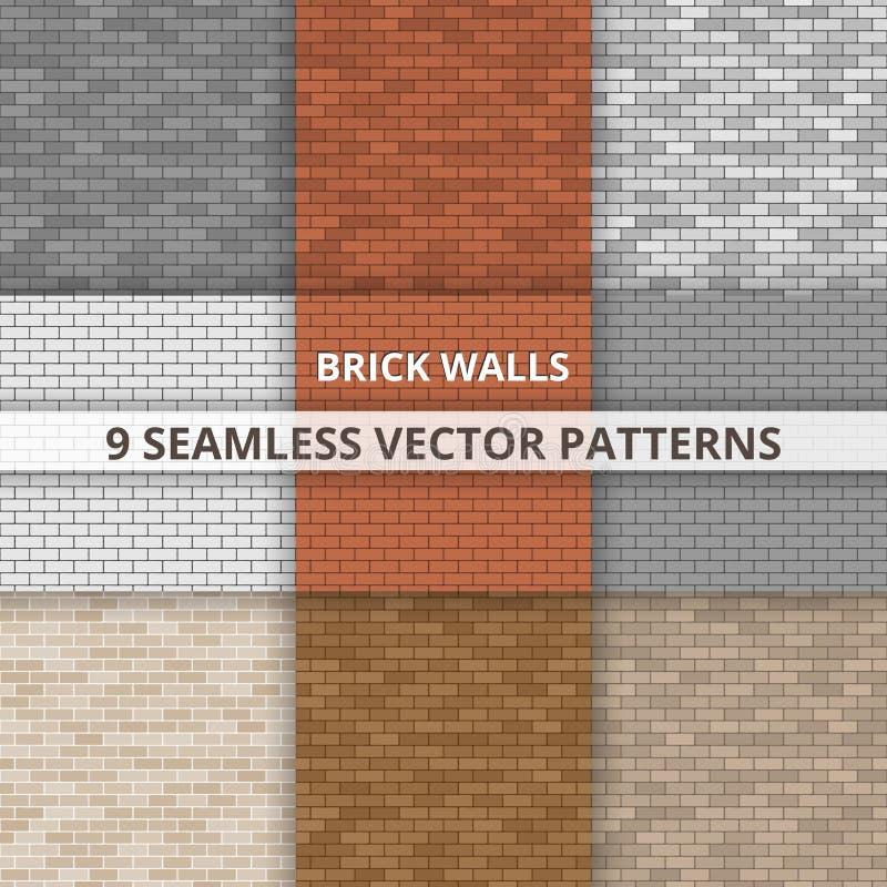 9 modelli senza cuciture di vettore Paterns del muro di mattoni sottragga la priorità bassa illustrazione di stock