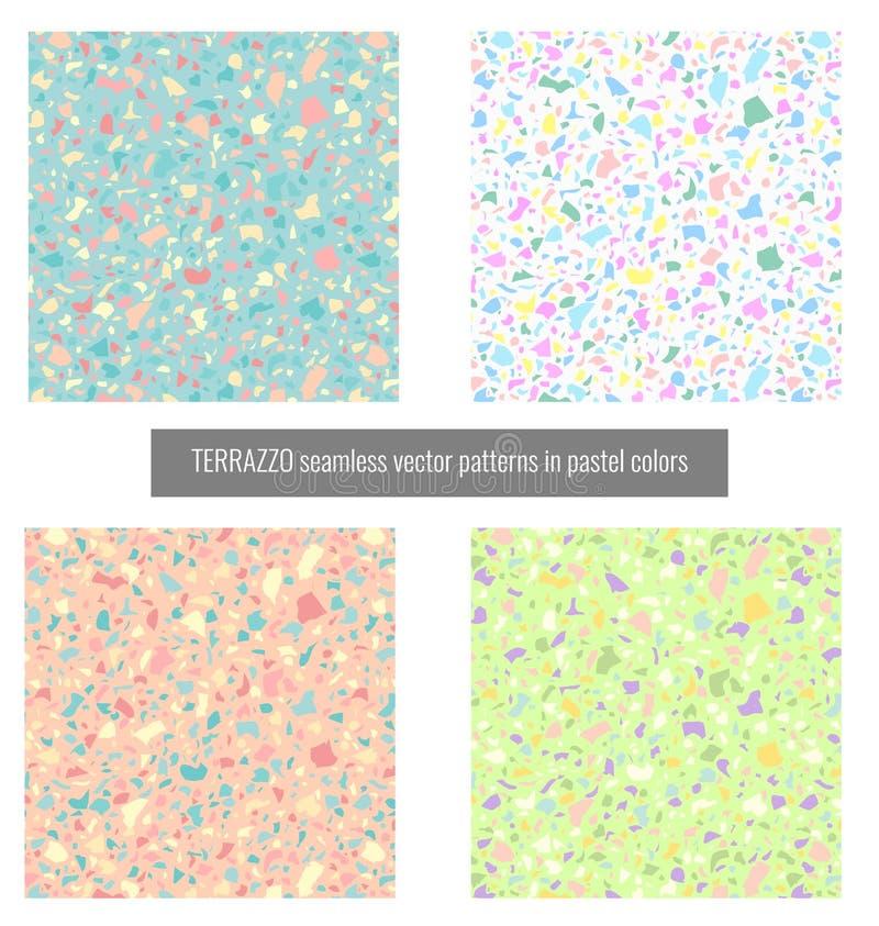 Modelli senza cuciture di vettore di terrazzo nei colori pastelli illustrazione vettoriale