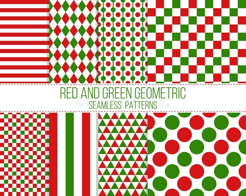 Modelli senza cuciture geometrici rossi e verdi illustrazione vettoriale