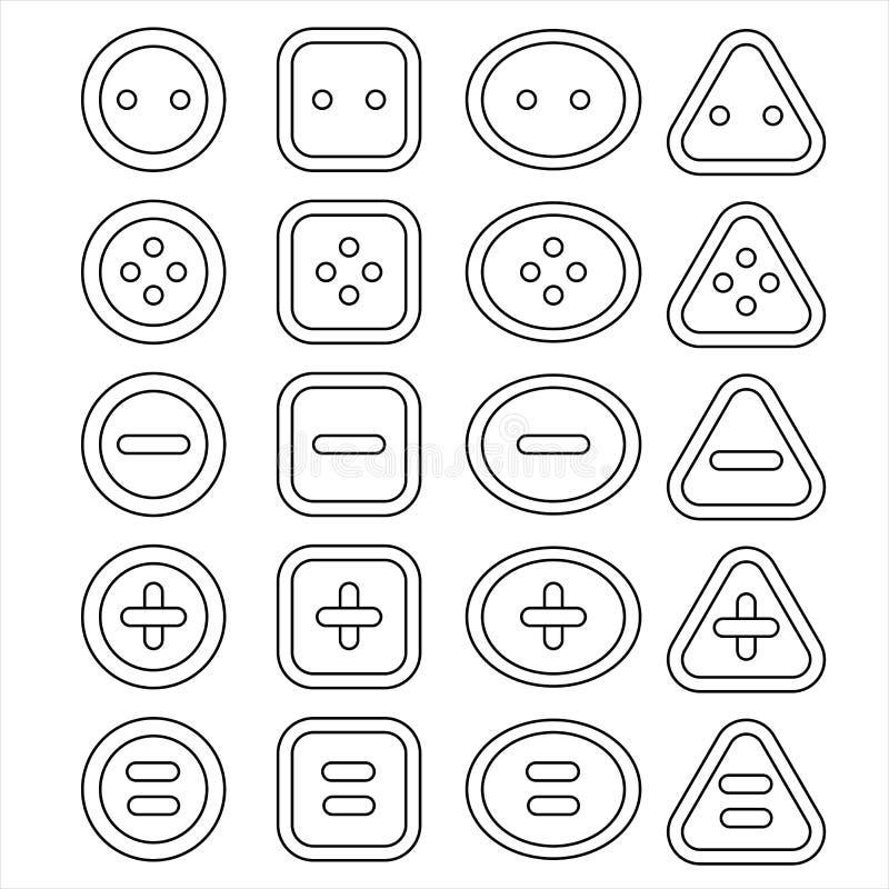 Modelli stabiliti differenti delle icone del bottone fotografia stock