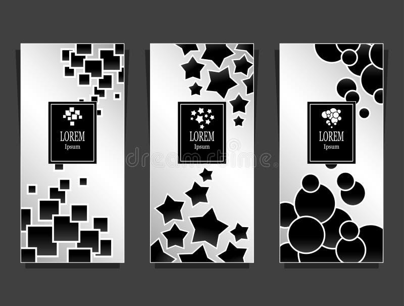 Modelli stabiliti per il pacchetto da fondo di lusso fatto dal nero d'argento delle forme geometriche royalty illustrazione gratis