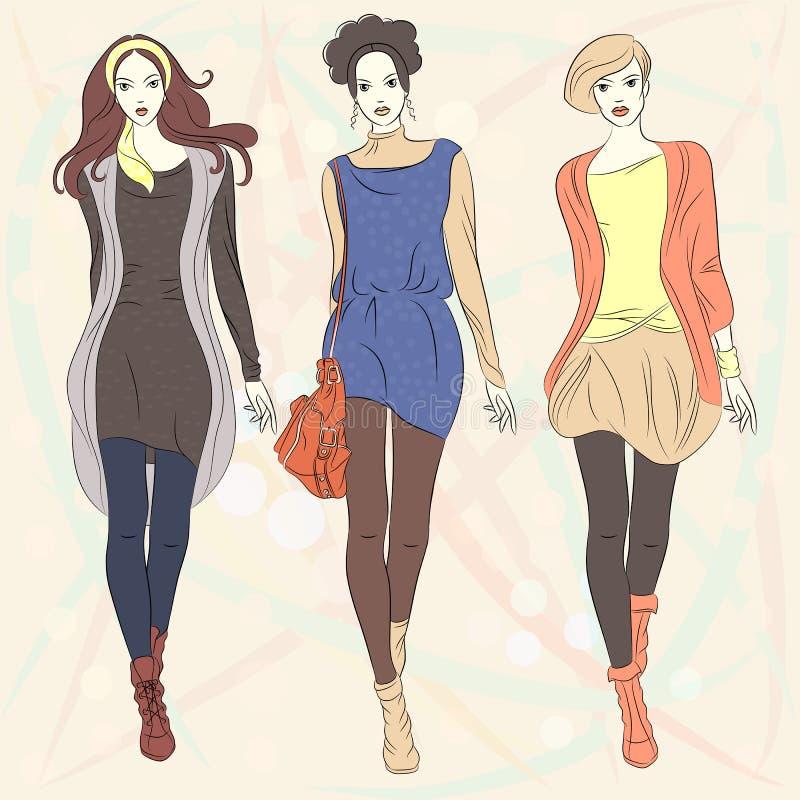 Modelli superiori delle belle ragazze di modo di vettore illustrazione di stock