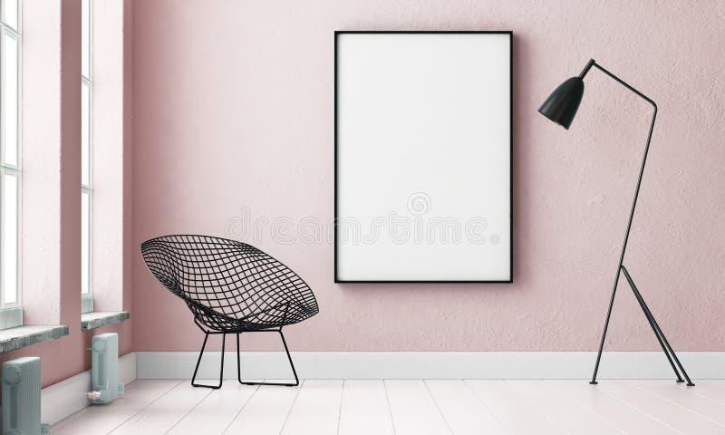 Modellinnenraum mit einem Plakat und einer Stehlampe Tendenzfarbe 3d stock abbildung