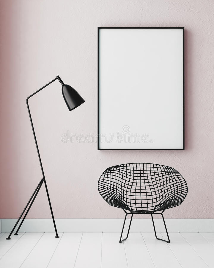 Modellinnenraum mit einem Plakat und einer Stehlampe Tendenzfarbe 3d lizenzfreie abbildung