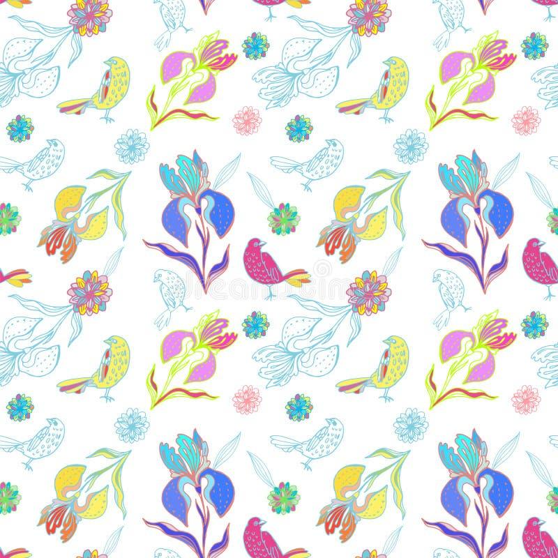 Modelliris och fåglar för tappning blom- sömlös vektor illustrationer