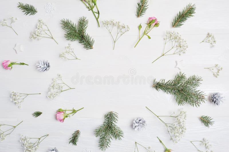 Modelljulsammansättning Julblommor, sörjer kottar, gran förgrena sig på trävit bakgrund med stället för ditt arkivfoto