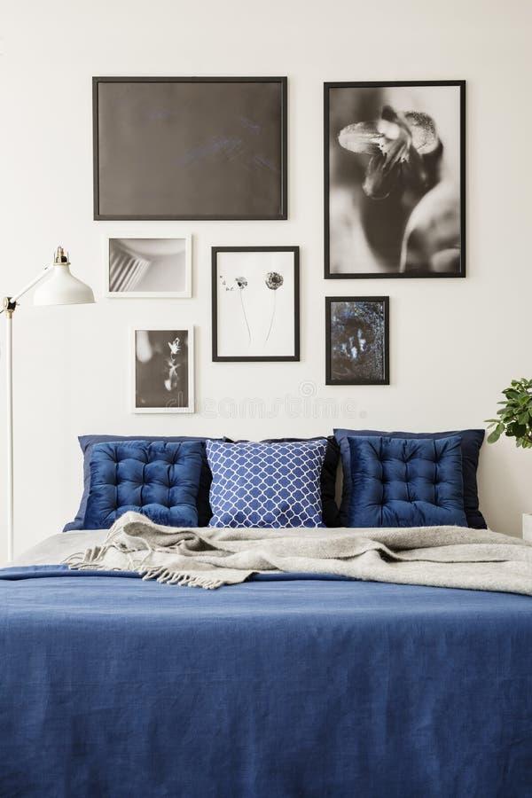 Modellkonstgalleri på en vit vägg ovanför en stor säng med marinblå sängkläder i ett ljust och modernt sovrum arkivfoton