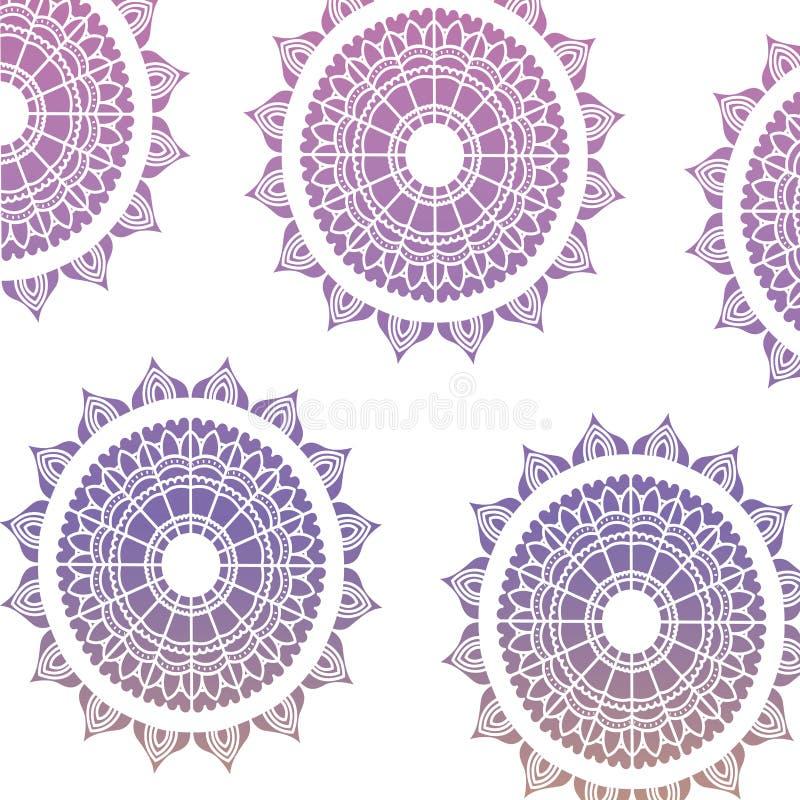 Modellmörker - blått till lilor av den dekorativa prydnaden för blommamandala stock illustrationer