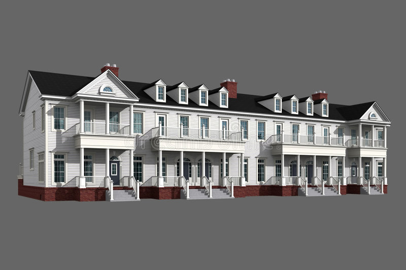 modello 3d del condominio bianco fotografia stock