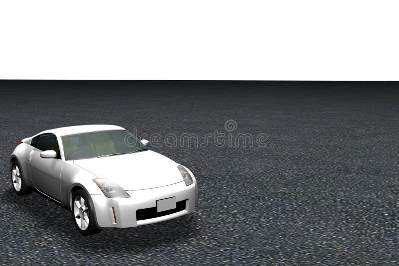 modello 3d dell'automobile sulla strada illustrazione di stock
