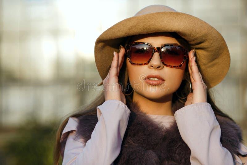 Modello abbronzato castana alla moda con trucco naturale che indossa l'ha immagine stock