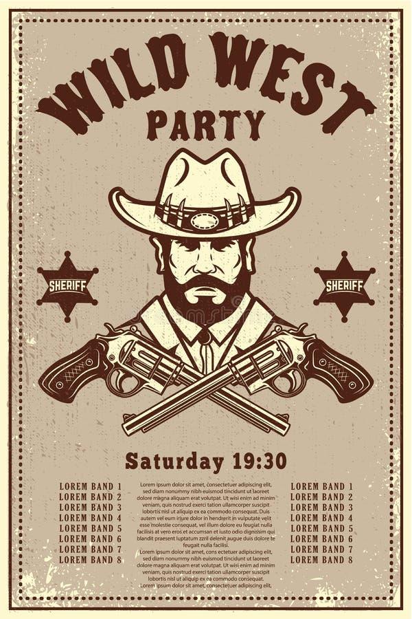 Modello ad ovest selvaggio del manifesto del partito Cappello da cowboy con i revolver attraversati Tema ad ovest selvaggio Eleme royalty illustrazione gratis