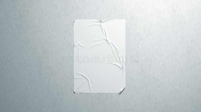 Modello adesivo del manifesto del wheatpaste bianco in bianco sulla parete strutturata immagini stock