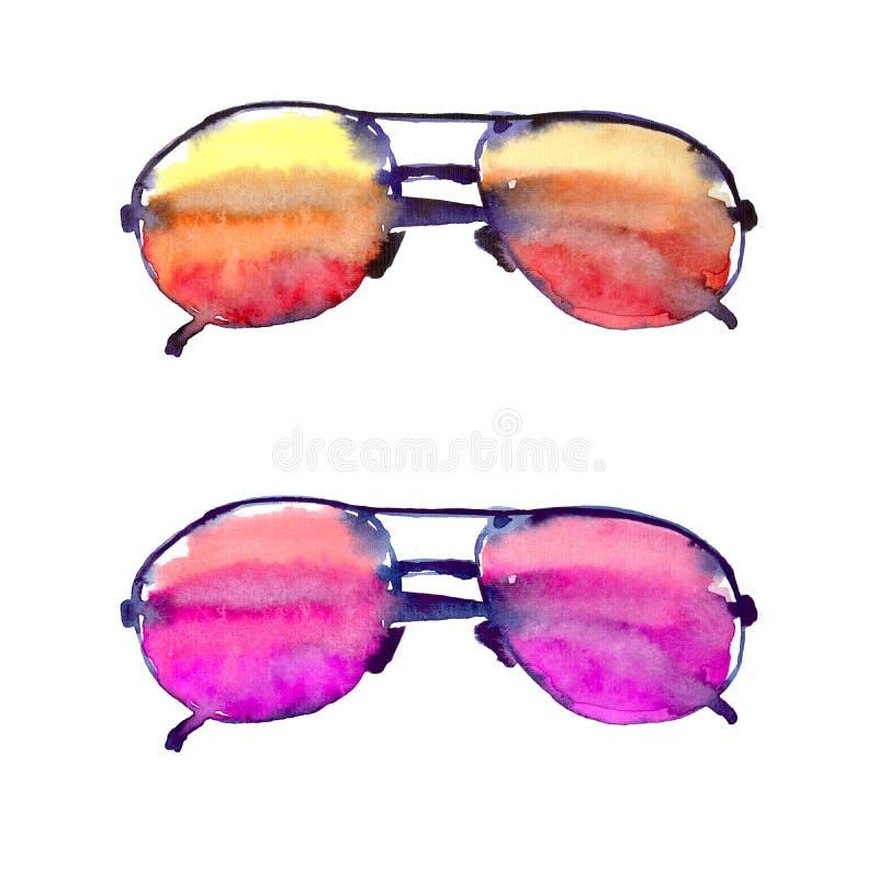 Modello adorabile luminoso variopinto della spiaggia di estate di comodità dell'acquerello variopinto degli occhiali da sole illustrazione vettoriale
