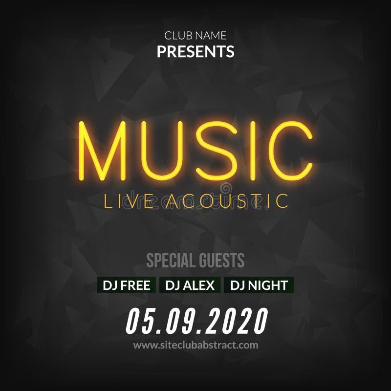 Modello al neon del fondo del manifesto di Live Music Concert Acoustic Party con l'aletta di filatoio al neon del segno del testo royalty illustrazione gratis