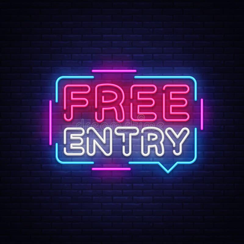 Modello al neon di progettazione di vettore del testo dell'entrata libera Insegna al neon, moderno variopinto di ingresso libero  royalty illustrazione gratis
