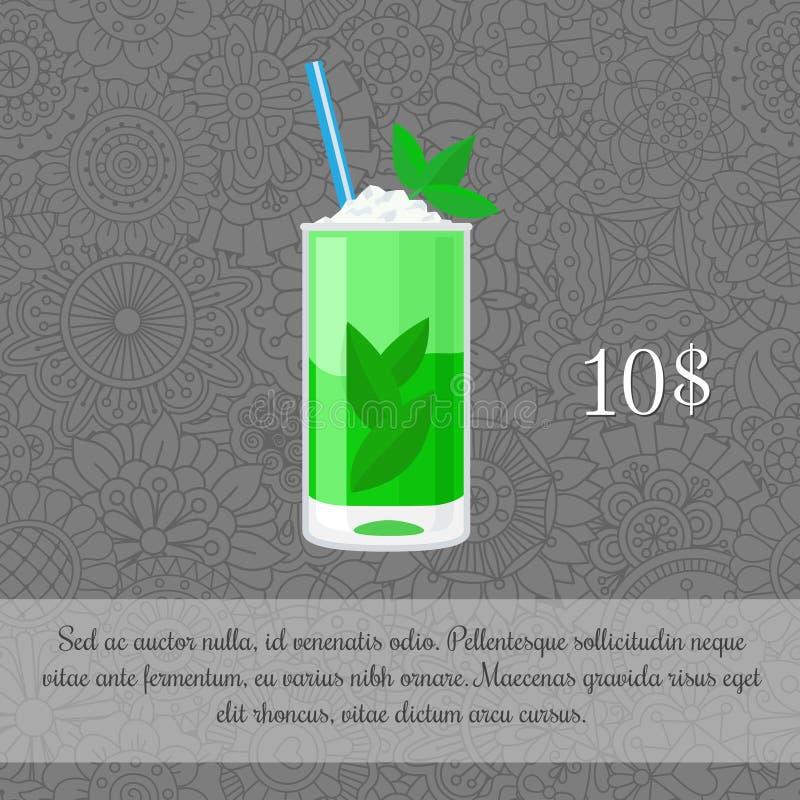Modello alcolico della carta del cocktail di mojito royalty illustrazione gratis