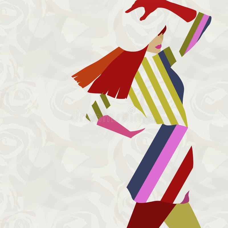 Modello alla moda della donna dell'illustrazione astratta illustrazione di stock