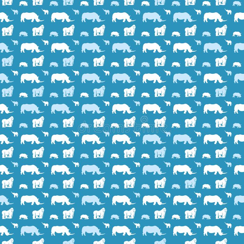 Modello animale senza cuciture per i bambini sul blu royalty illustrazione gratis